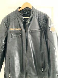 Harley-Davidson Motorcycles Black Leather Rare 115 1Men's Jacket Size XL Zip Up