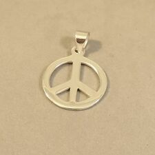 .925 Sterling Silver 1 inch Basic High Polish PEACE SIGN PENDANT NEW 925 PW78