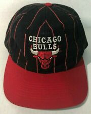 Vintage 90s Chicago Bulls Pinstripe Snapback Hat Cap Black Red NBA Universal