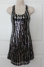 NEW MAUDE Women's S Allover Black White Sequins Party Sparkle Dress