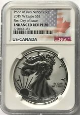 2019 W SILVER EAGLE ENHANCED REVERSE PROOF FIRST DAY OF ISSUE NGC PF70 2 NATIONS