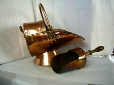 Antique Coal Skuttle with Shovel Copper with wooden handle