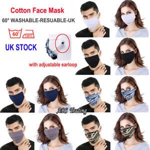 BRIT UK FACE MASK Breathable Cotton Washable Reusable Adjustable Pollution