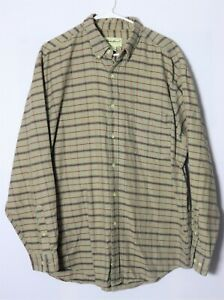 Eddie Bauer mens brown/red long sleeve button shirt, 100% cotton size Large (L)