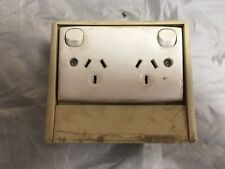 Clipsal floor outlet housing 224/1 beige with 2 Clipsal double GPOs used  WA  #5