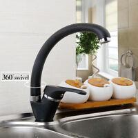 EUB Deck Mounted Kitchen Sink Basin Faucet Black Painting Single Hole Mixer Tap