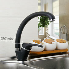 Deck Mounted Kitchen Sink Basin Faucet Black Painting Single Handle Mixer Taps