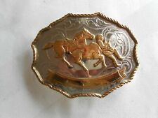 Vintage Steer Wrestling Rodeo Belt Buckle - German Silver