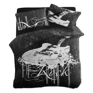 New Black Rock Guitar Double Size Quilt / Doona / Duvet Cover Set