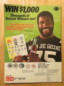 1982 MEAN JOE GREENE Win $1,000 Coke CARDBOARD Display PITTSBURGH STEELERS