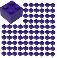 ☀️100x NEW LEGO 2x2 DARK PURPLE Bricks (ID 3003) BULK Parts Girl Friends town