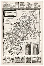 Old Vintage Antique Cumberland map Moll ca. 1724