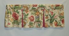Curtain Valance Off White Rose Yellow Green Floral Animal  Lined Topper