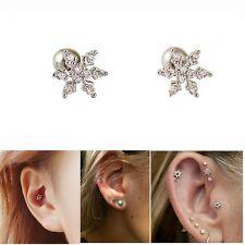 1pcs Zircon Snowflake Ear Studs Cartilage Stud Tragus Helix Piercing Earring z