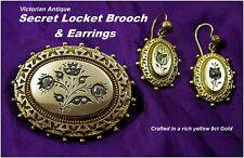 Antique Secret Locket Brooch & Earrings 9ct Gold Victorian c1880s Beautiful Set