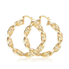 "REAL 18K ""Gold Filled"" Prom 60mm Large Twisted Hoop Earrings Birthday Xmas Gift"