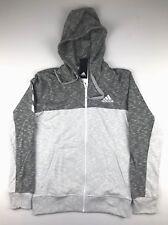 Adidas Mens Size XL Gray 3 Stripe Life Full Zip Basketball Hoodie Sweatshirt $75