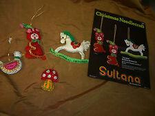Christmas Ornaments 4 Vintage Sultana Felt Sequin Bead Hand Stitched Bear Horse