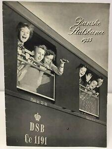 Vintage Danske Statsbaner DSB 1955 Train Publication Book Travel Denmark