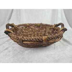 Lg Basket with Wood Handles