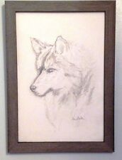 "Original ""Husky"" Dog Graphite Drawing Title:COMPANION 14"" x 18"" Wood Frame, Now"