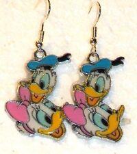 "#534 Beautiful ""Donald + Daisy Duck"" Colorful Dangle Charm Hook Earwire Earrings"