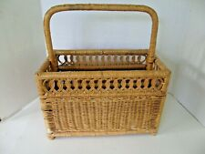 WICKER-RATTAN 2 SECTION CADDY HOLDER ACCESSORY BASKET WITH HANDLE