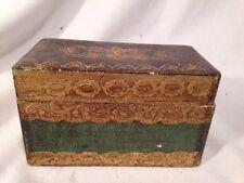 Vtg Italian Florentine Gold Gilt Playing Card Box Florentine Italy Rare