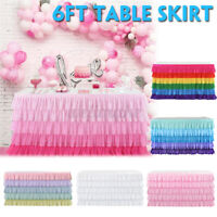 6FT Tutu Tulle Table Skirt Tableware Table Cloth Cover Home Wedding/Party Decor