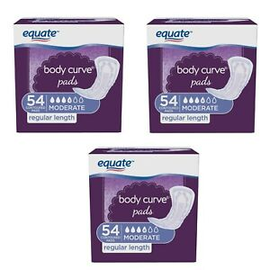 162 Ct (54 x 3 Pack) Equate Body Curve Women Incontinence Pads Moderate Regular