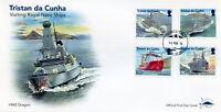 Tristan da Cunha 2018 FDC Royal Navy Ships HMS Portland 4v Cover Boats Stamps