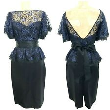 Vintage 80s Gunne Sax Cocktail Party Lace Dress Size Small Evening Peplum Formal