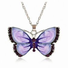 Charm Women Elegant Jewelry Butterfly Crystal Silver Pendant Chain Necklace Gift