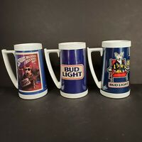 80's BUD LIGHT and Spuds MacKenzie Stein Thermo Serv Plastic Mug Lot of 3 Cup