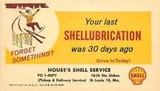 Automobile Service Reminder Postcard, Shell Oil, St. Louis, Missouri - ca 1959
