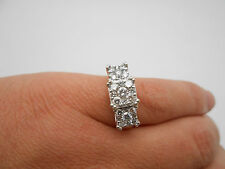 Large 14k Solid Gold E-F VS Diamond Cluster 1.25Ct Three Section Ring Sz 7.25
