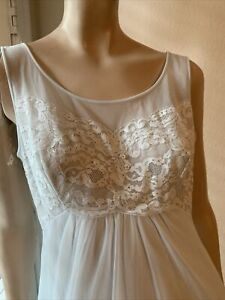 ShadowLine NOS Women's Bridal Lt. Blue Sheer Night Gown Chiffon Pearls Lace S