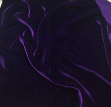 "Dark Purple Plush Silk Velvet Upholstery Apparel Fabric - BTY - 44"" / 45"""