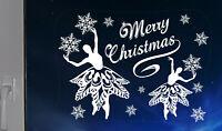 DANCING BALLERINAS SNOWFLAKES CHRISTMAS STICKER HOME WINDOW  DECOR REUSABLE GIFT
