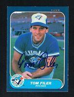 Tom Filer #58 signed autograph auto 1986 Fleer Baseball Trading Card