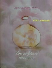 PUBLICITE NINA RICCI PARFUM EAU DE FLEURS JARDIN DE PARADIS DE 1981 FRENCH AD