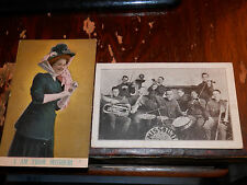 MISSOURI - 2 RARE OLD POSTCARDS - LADY from Missouri - Old-Time Band