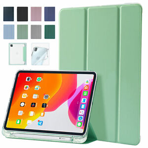 Slim iPad Case For Pro 12.9 11/10.2/Air/mini Pencil holder Soft Clear Back Cover
