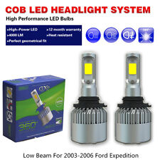 LED headlights Bulbs COB White Car Bulbs Low Beam Fit 2003-2006 Ford Expedition