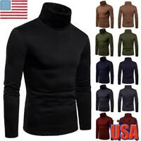 Men's Winter Knitted High Roll Turtle Neck Pullover Sweater Jumper Stretch Tops