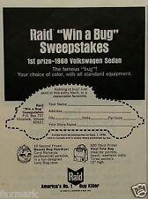 """Raid """"Win a Bug"""" Contest Ad - America's No. 1 Bug Killer - 1968 Magazine Ad..."""