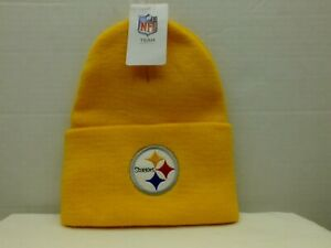 PITTSBURGH STEELERS KNIT BEANIE HAT NFL STOCKING YELLOW NEW ADULT TEAM APPAREL