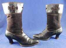 Rare Victorian Women's Black Leather Red Cutout Trim Equestrian Riding Boots Vtg