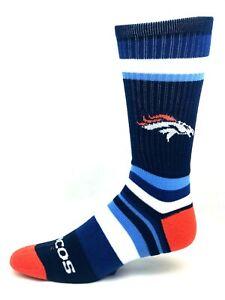 Denver Broncos Football Blue & Orange Rainbow Stripe Deuce Crew Socks