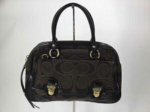 Coach Brown Signature Jacquard Patent Satchel Bag